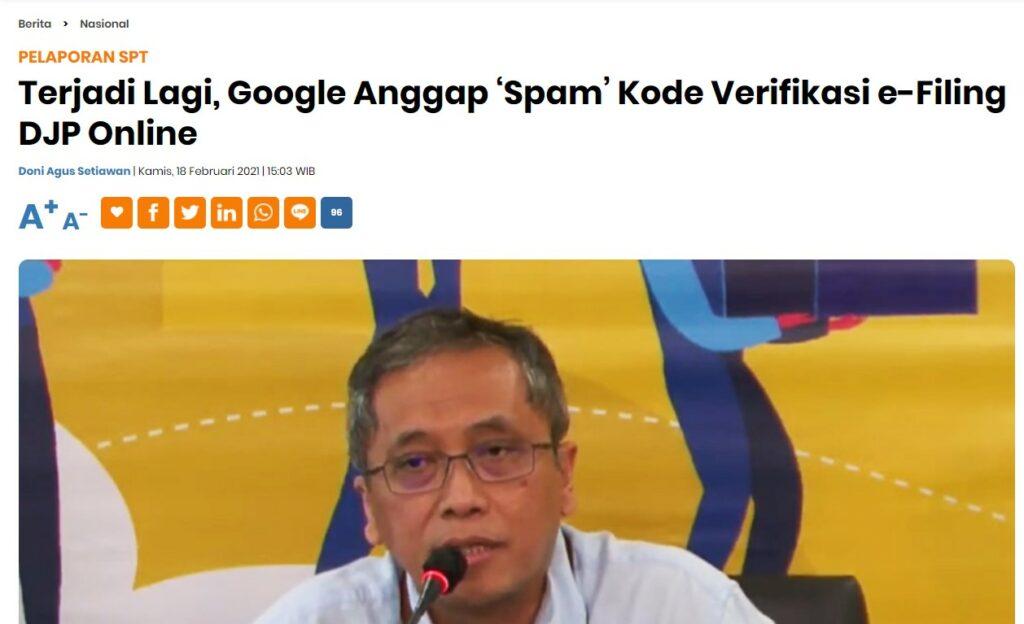 Pelaporan Pajak Online - Gmail menganggap kode verifikasi pelaporan SPT sebagai SPAM. Ini solusinya.