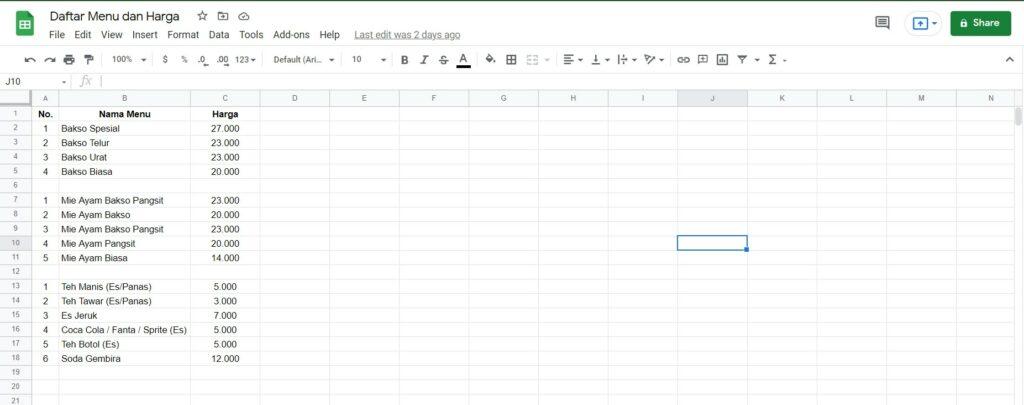 Contoh MMenu yang direkap di Google Sheets